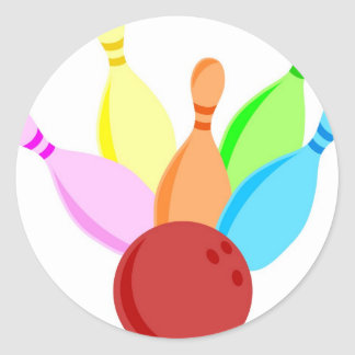 Ten Pin Bowling Classic Round Sticker