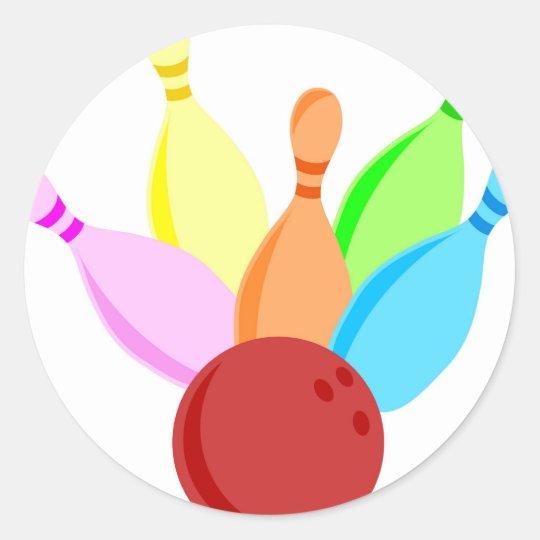 Ten Pin Bowling Round Sticker