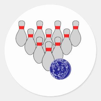 Ten Pin Bowling Stickers Round Sticker