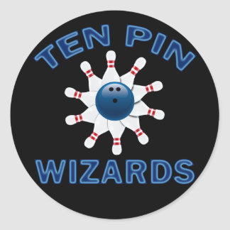 TEN PIN WIZARDS - BOWLING TEAM NAME ROUND STICKER