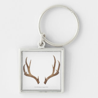Ten Point Deer Silver-Colored Square Key Ring