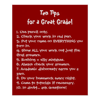 Ten Tips for a Great Grade Poster