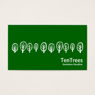 Ten Trees - White on Grass Green Business Card