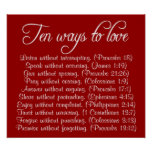 Ten ways to Love bible verse poster