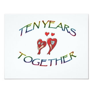 TEN YEARS TOGETHER 11 CM X 14 CM INVITATION CARD