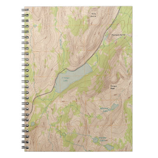 Tenaya Lake Yosemite Topographic Map Spiral Notebooks
