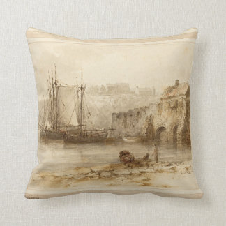 Tenby British Nautical Art Ship Throw Pillow