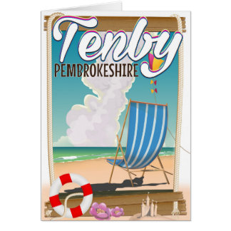 Tenby Pembrokeshire beach travel poster Card
