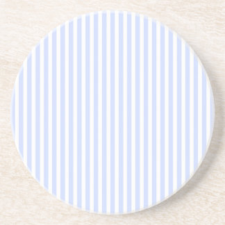 Tender Baby Blue Pale Sky Blue and White Stripe Coaster