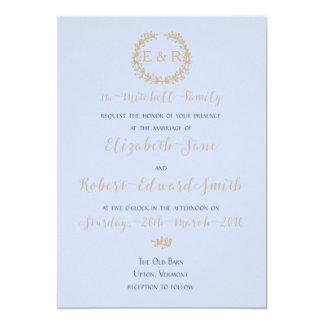 Tender Baby Blue Pale Sky Pastel Blue Wreath/Sprig 13 Cm X 18 Cm Invitation Card
