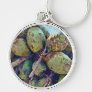 Tender coconuts in a pile Silver-Colored round key ring