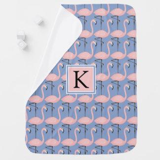 Tender Flamingo Pattern | Monogram Baby Blanket