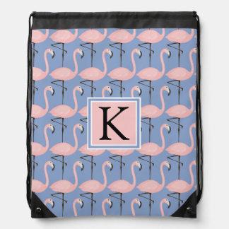 Tender Flamingo Pattern | Monogram Drawstring Bag