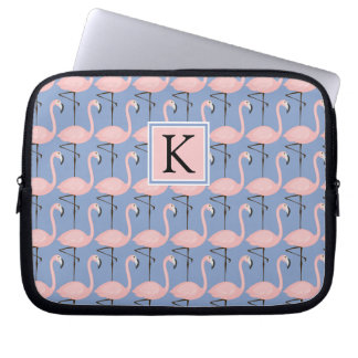 Tender Flamingo Pattern | Monogram Laptop Sleeve