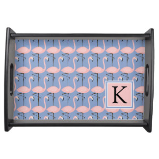 Tender Flamingo Pattern | Monogram Serving Tray