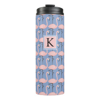 Tender Flamingo Pattern | Monogram Thermal Tumbler