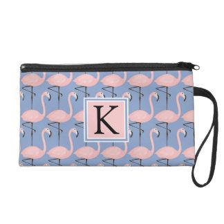Tender Flamingo Pattern | Monogram Wristlet Clutch