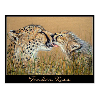 Tender Kiss Cheetah Baby & Mom postcard