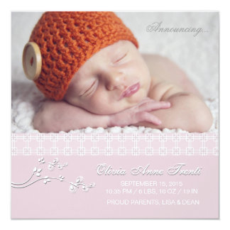 Tender Passion Pink - Photo Birth Announcement