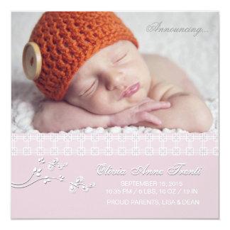 """Tender Passion Pink - Photo Birth Announcement 5.25"""" Square Invitation Card"""