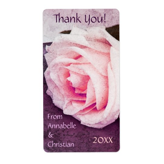 Tender pink rose wedding thank you bottle shipping label