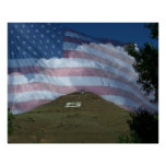 Tenderfoot Hill with US Flag Poster