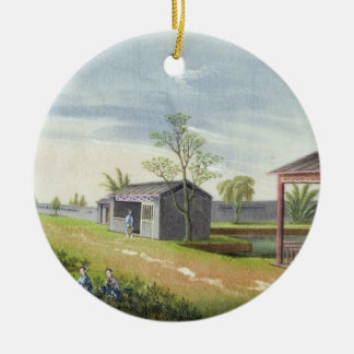 Tending tea plants (w/c on paper) round ceramic decoration