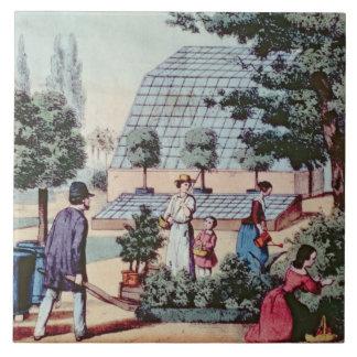 Tending the Garden, c.1860 (colour engraving) Tile