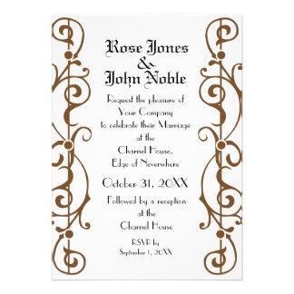 Tendrillon Ivory (Brown) Wedding Invitation
