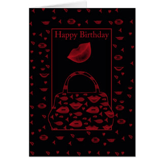 tendy lipstick handbag birthday card - lips