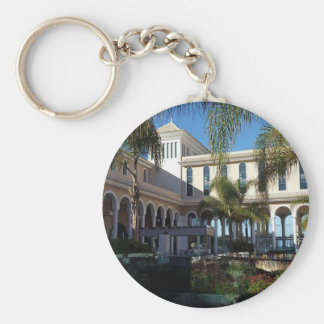 Tenerife Hotel and Palm Trees Button Key Ring