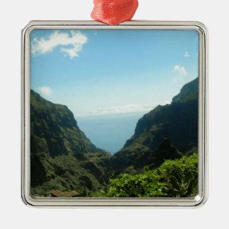Tenerife Mount Teide Silver-Colored Square Decoration