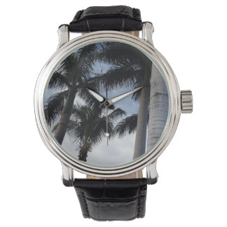 Tenerife Palm Trees Leather Watch