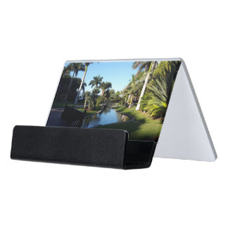 Tenerife Stream with Palm Trees Desk Business Card Holder