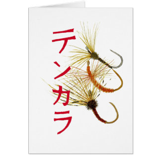 Tenkara Greetings Card with 3 Kebari Flies