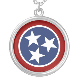 Tennessee Flag Emblem Silver Plated Necklace