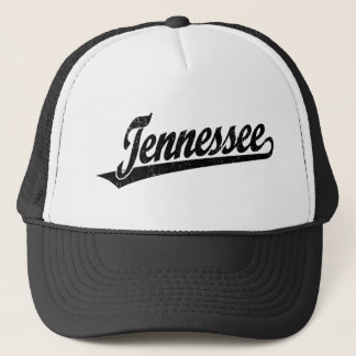Tennessee script logo in black distressed trucker hat