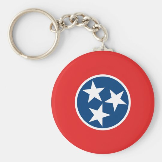 Tennessee State Flag Basic Round Button Key Ring