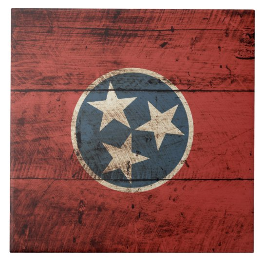 Tennessee State Flag on Old Wood Grain Large Square Tile