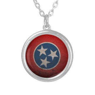 Tennessee State Flag Silver Plated Necklace