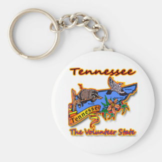 Tennessee The Volunteer State Racoon Flower Bird B Basic Round Button Key Ring