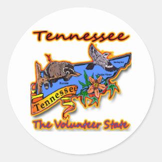 Tennessee The Volunteer State Racoon Flower Bird B Round Sticker