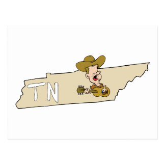 Tennessee TN State Map & Nashville Music Postcard