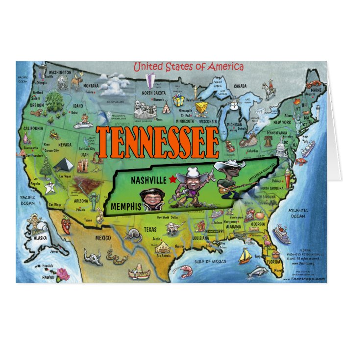 Tennessee USA Map Greeting Card