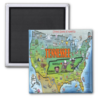 Tennessee USA Map Square Magnet