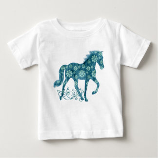 Tennessee Walking Horse Teal Grunge Floral Baby T-Shirt