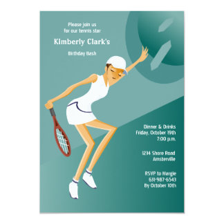 "Tennis Ace Female Invitation 5"" X 7"" Invitation Card"