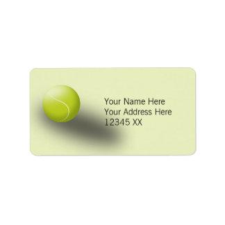 Tennis address labels, green. Tennis ball, sport. Address Label
