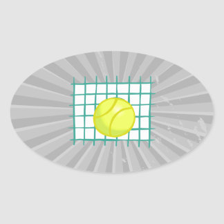 tennis ball and net simple graphic oval sticker