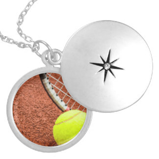 Tennis Ball and Racket Closeup Silver Plated Necklace